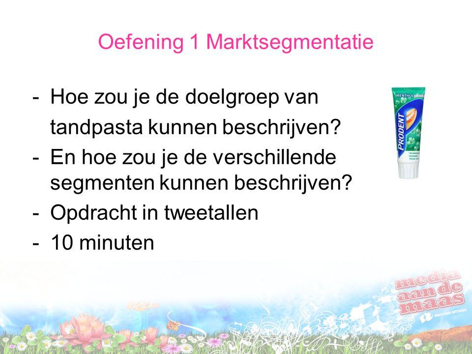 Oefening 1 Marktsegmentatie