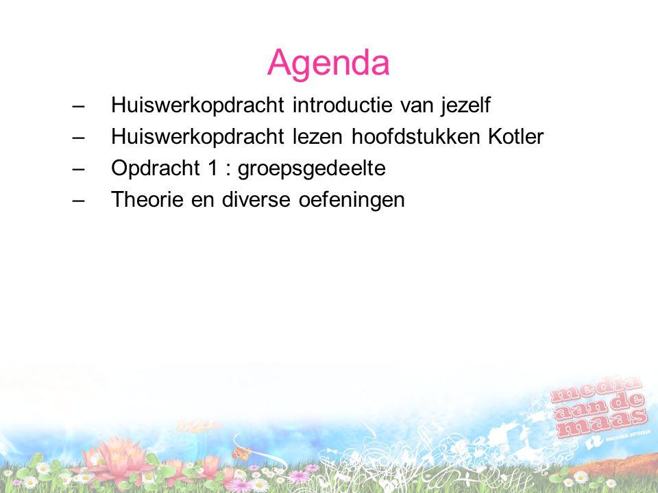 Agenda Huiswerkopdracht introductie van jezelf