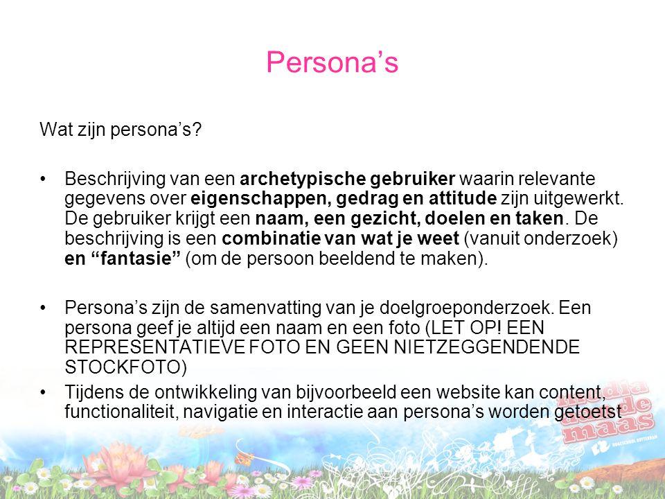 Persona's Wat zijn persona's