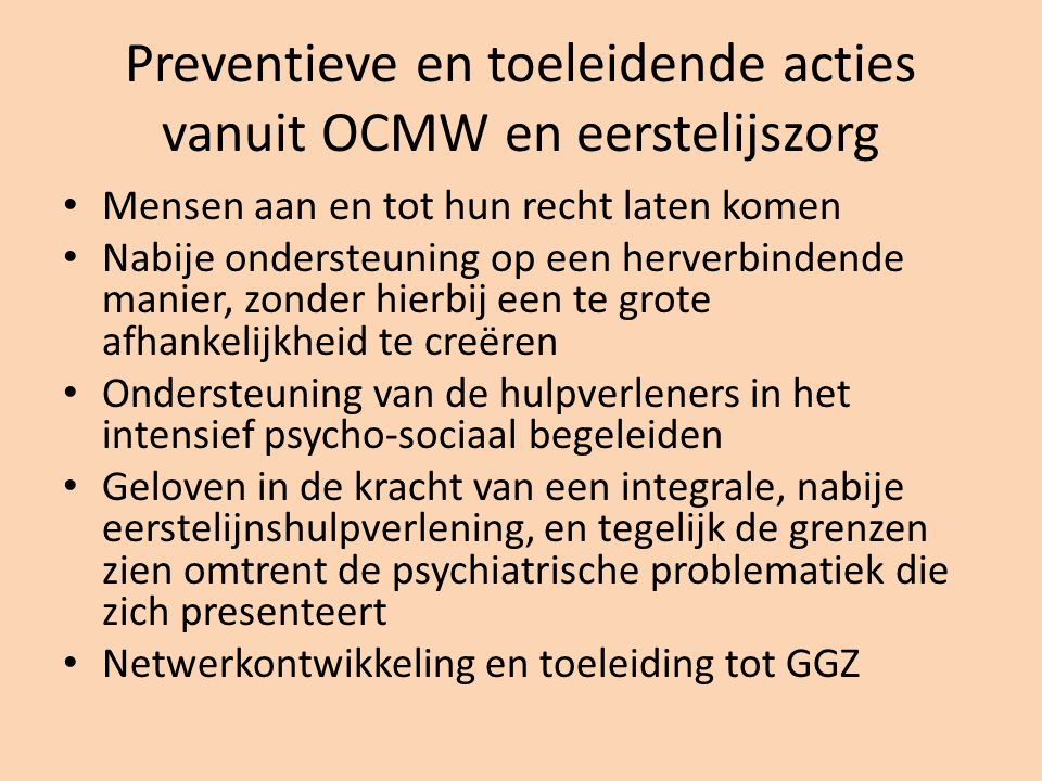 Preventieve en toeleidende acties vanuit OCMW en eerstelijszorg