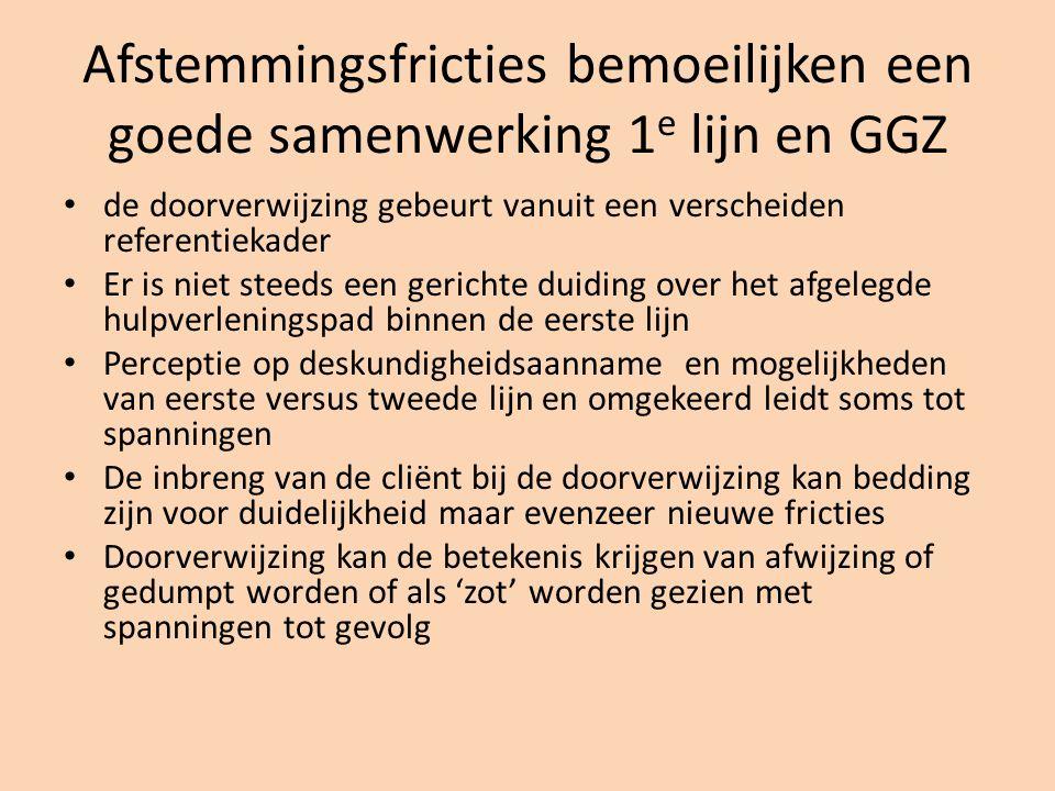 Afstemmingsfricties bemoeilijken een goede samenwerking 1e lijn en GGZ