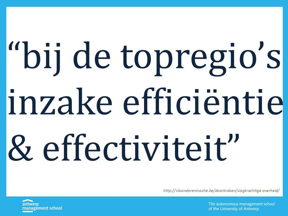bij de topregio's inzake efficiëntie & effectiviteit