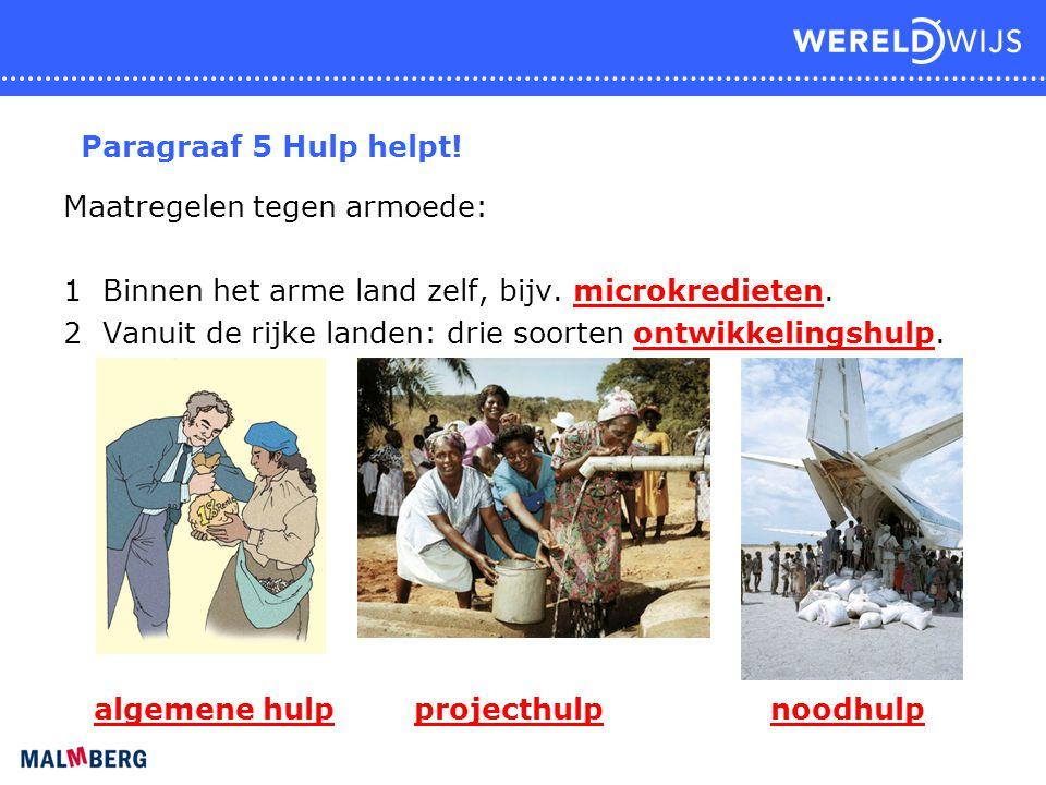 Paragraaf 5 Hulp helpt! Maatregelen tegen armoede: 1 Binnen het arme land zelf, bijv. microkredieten.