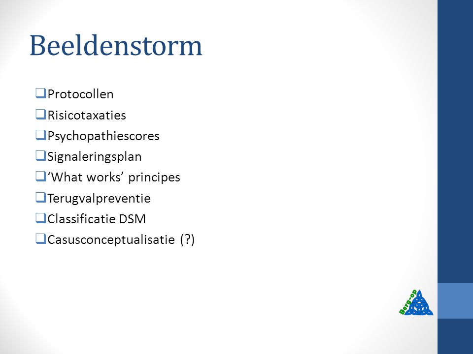 Beeldenstorm Protocollen Risicotaxaties Psychopathiescores