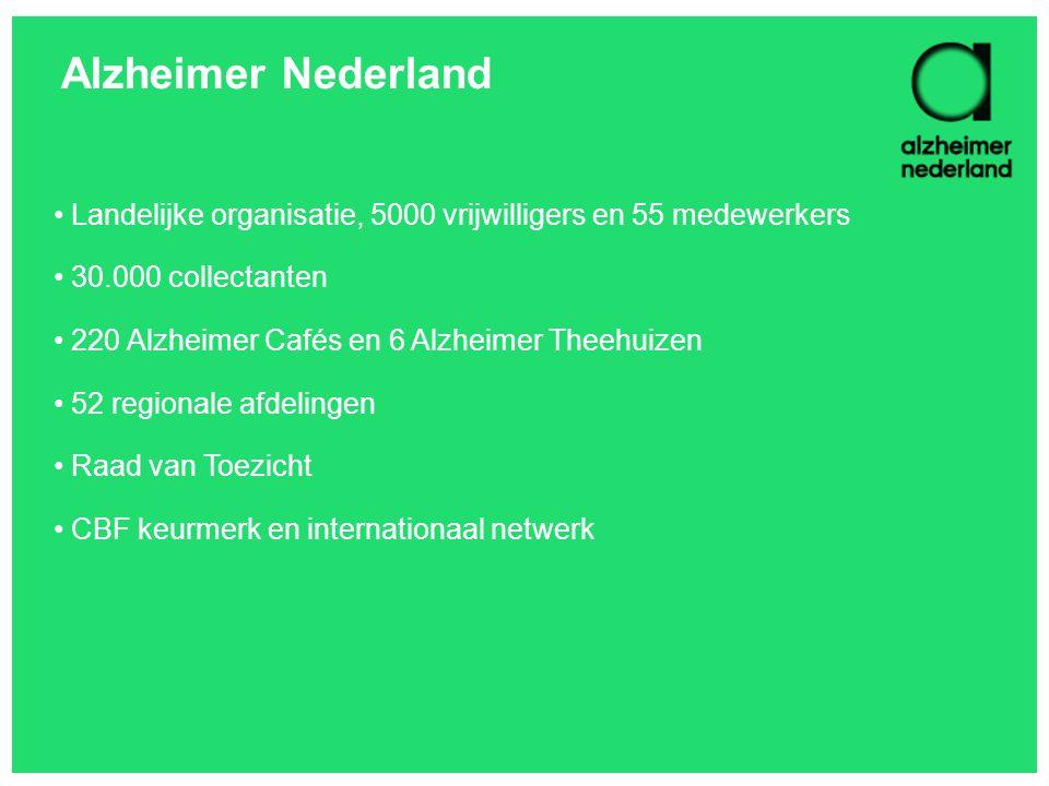 Alzheimer Nederland Landelijke organisatie, 5000 vrijwilligers en 55 medewerkers. 30.000 collectanten.