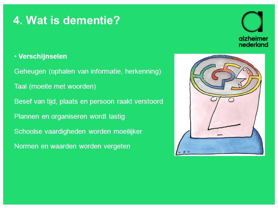 4. Wat is dementie Verschijnselen