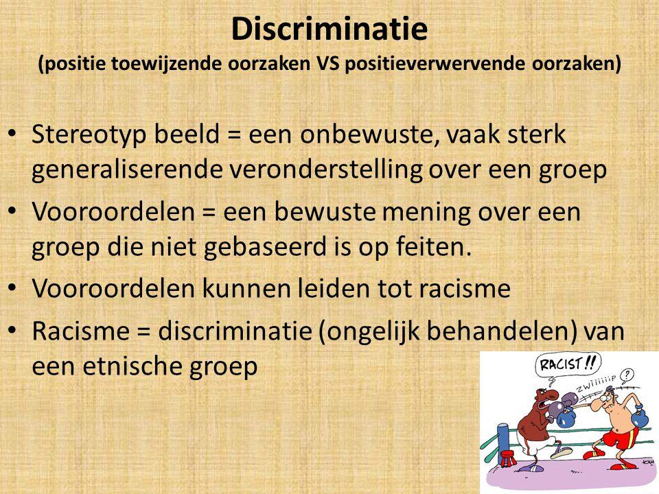 Discriminatie (positie toewijzende oorzaken VS positieverwervende oorzaken)