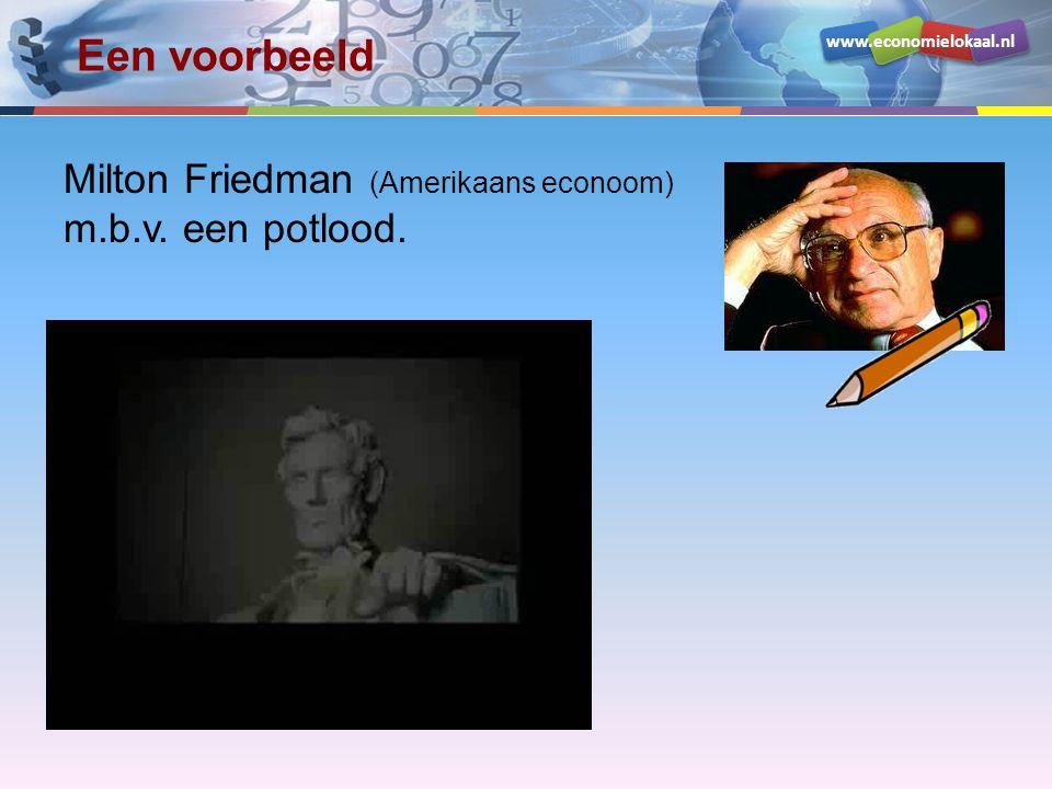 Een voorbeeld Milton Friedman (Amerikaans econoom) m.b.v. een potlood.