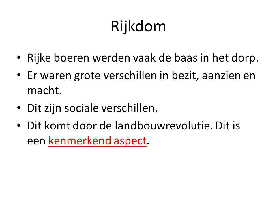 Rijkdom Rijke boeren werden vaak de baas in het dorp.