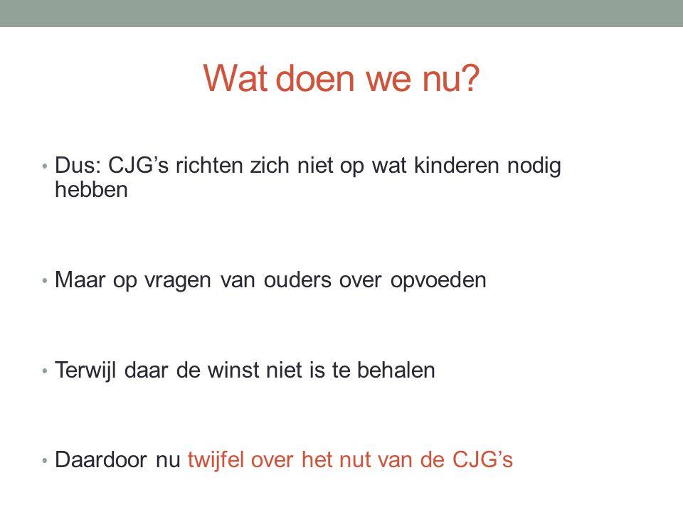 Wat doen we nu Dus: CJG's richten zich niet op wat kinderen nodig hebben. Maar op vragen van ouders over opvoeden.