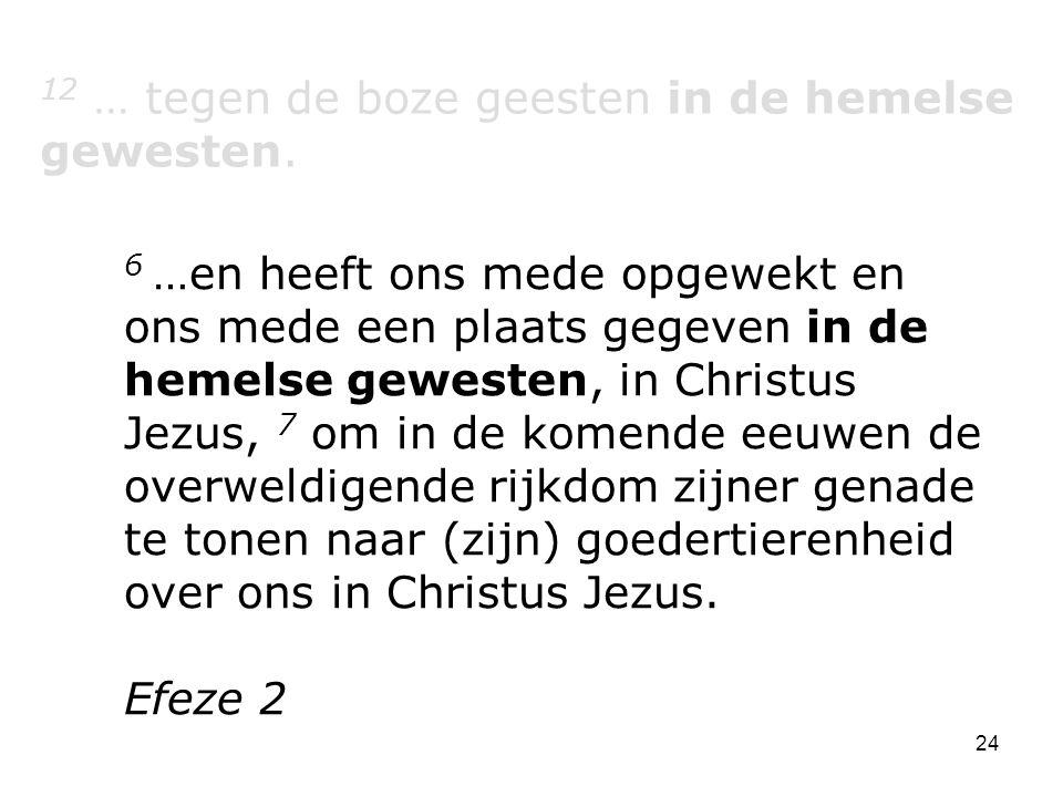 12 … tegen de boze geesten in de hemelse gewesten.