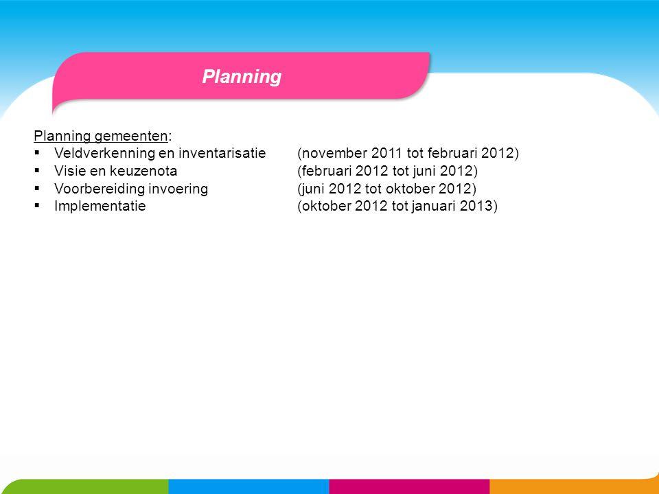 Planning Planning gemeenten: