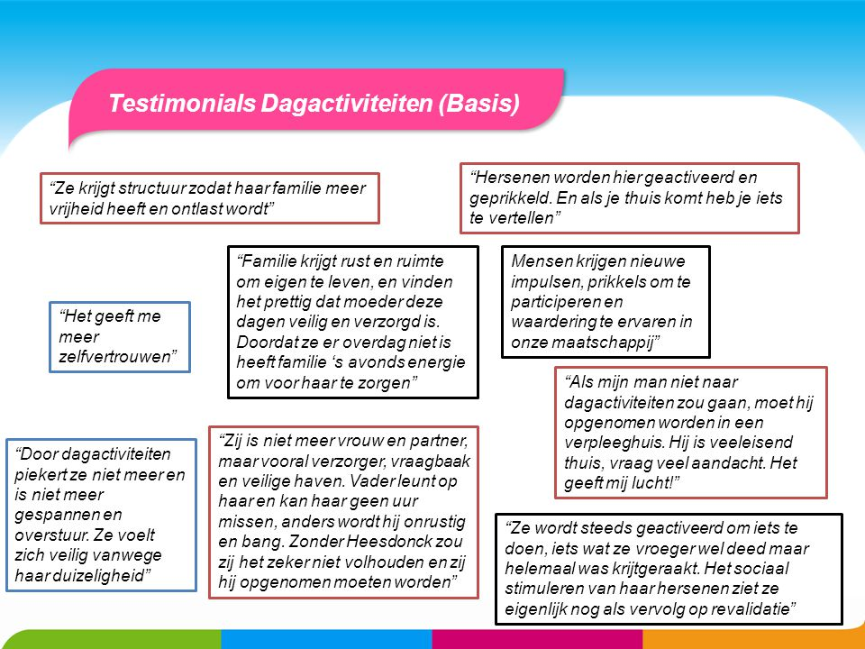 Testimonials Dagactiviteiten (Basis)