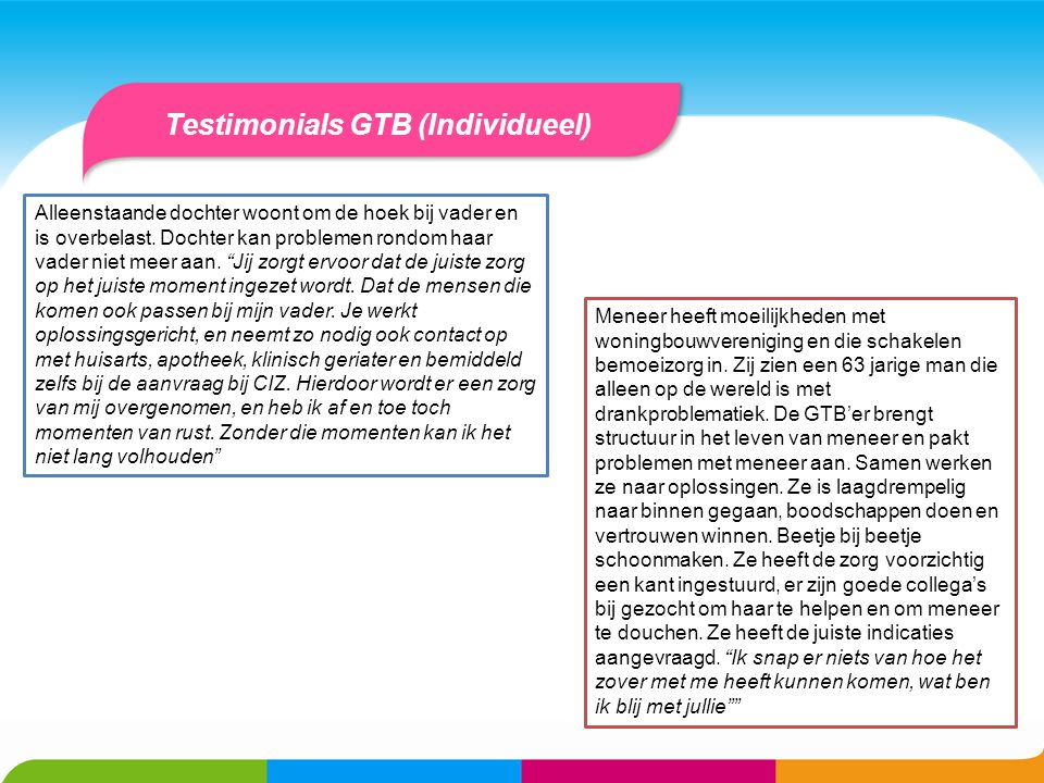Testimonials GTB (Individueel)