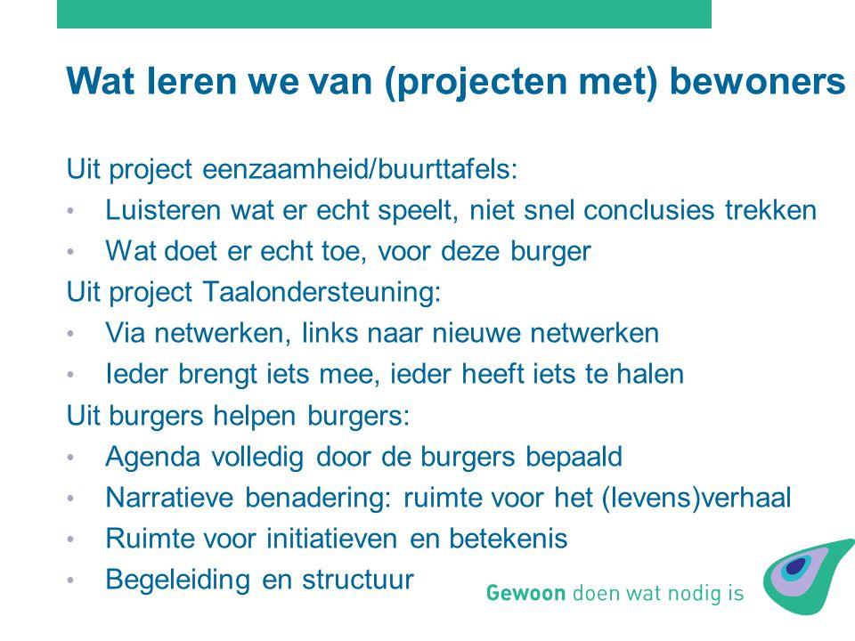 Wat leren we van (projecten met) bewoners