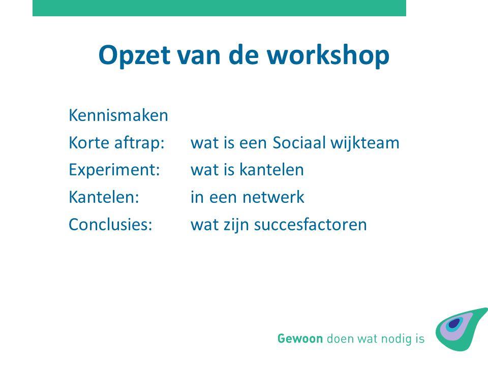 Opzet van de workshop Kennismaken