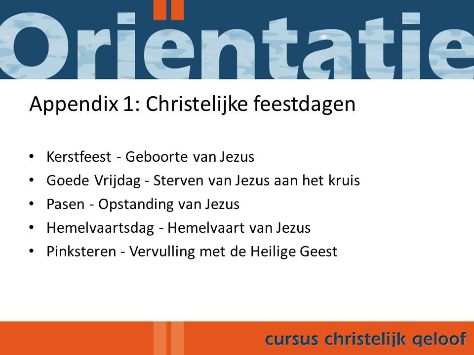 Appendix 1: Christelijke feestdagen
