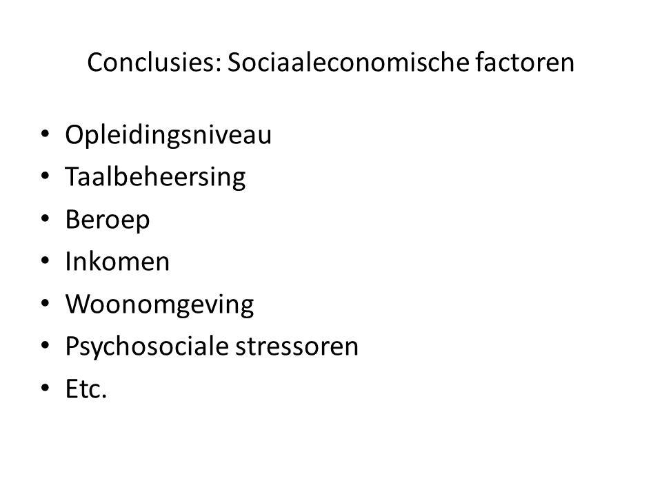 Conclusies: Sociaaleconomische factoren