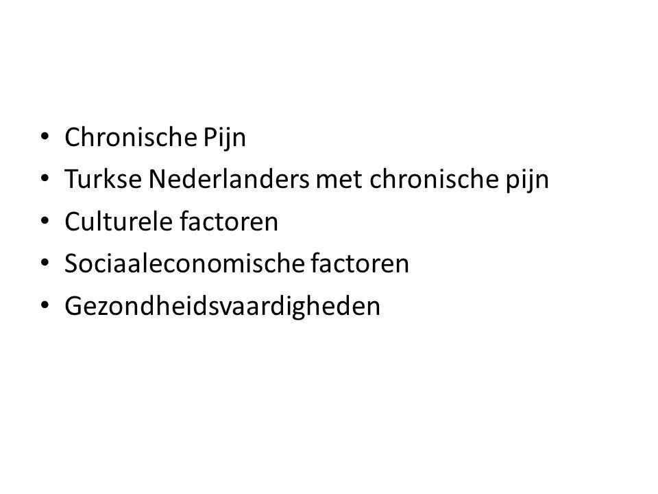 Chronische Pijn Turkse Nederlanders met chronische pijn. Culturele factoren. Sociaaleconomische factoren.