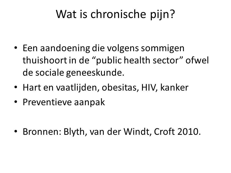 Wat is chronische pijn Een aandoening die volgens sommigen thuishoort in de public health sector ofwel de sociale geneeskunde.
