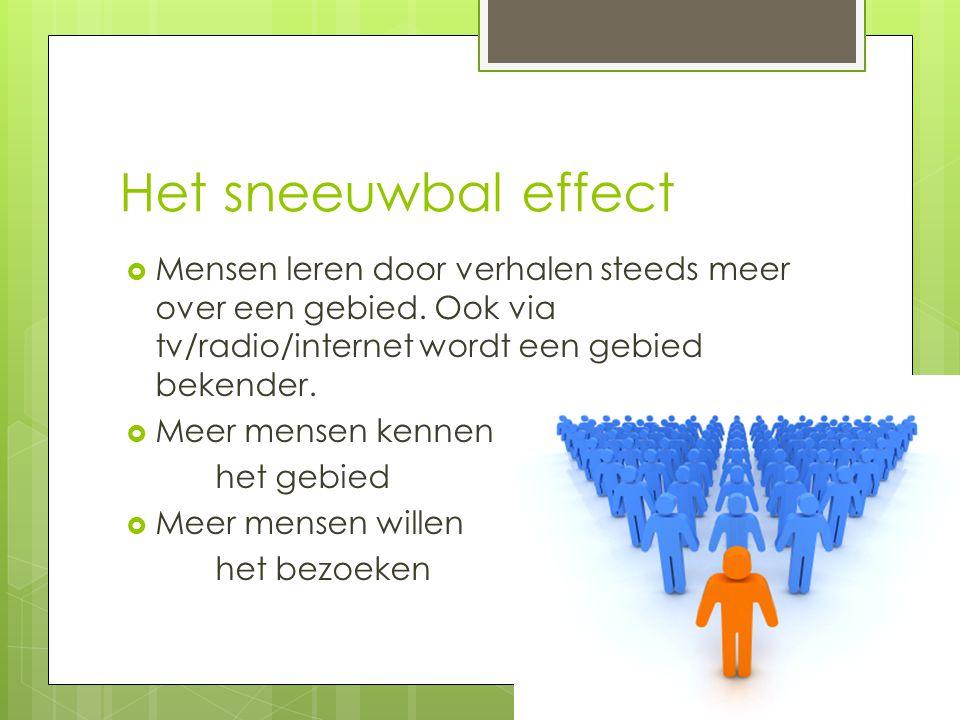 Het sneeuwbal effect Mensen leren door verhalen steeds meer over een gebied. Ook via tv/radio/internet wordt een gebied bekender.