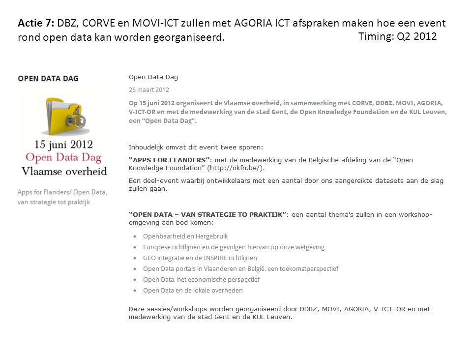Actie 7: DBZ, CORVE en MOVI-ICT zullen met AGORIA ICT afspraken maken hoe een event rond open data kan worden georganiseerd.