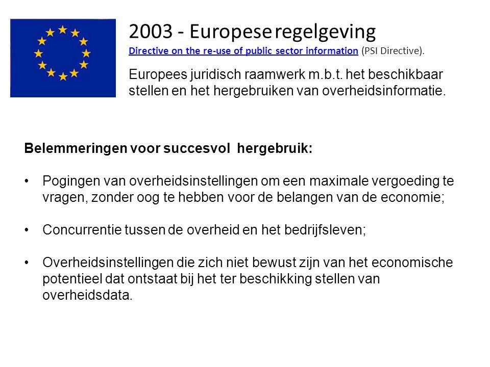 2003 - Europese regelgeving