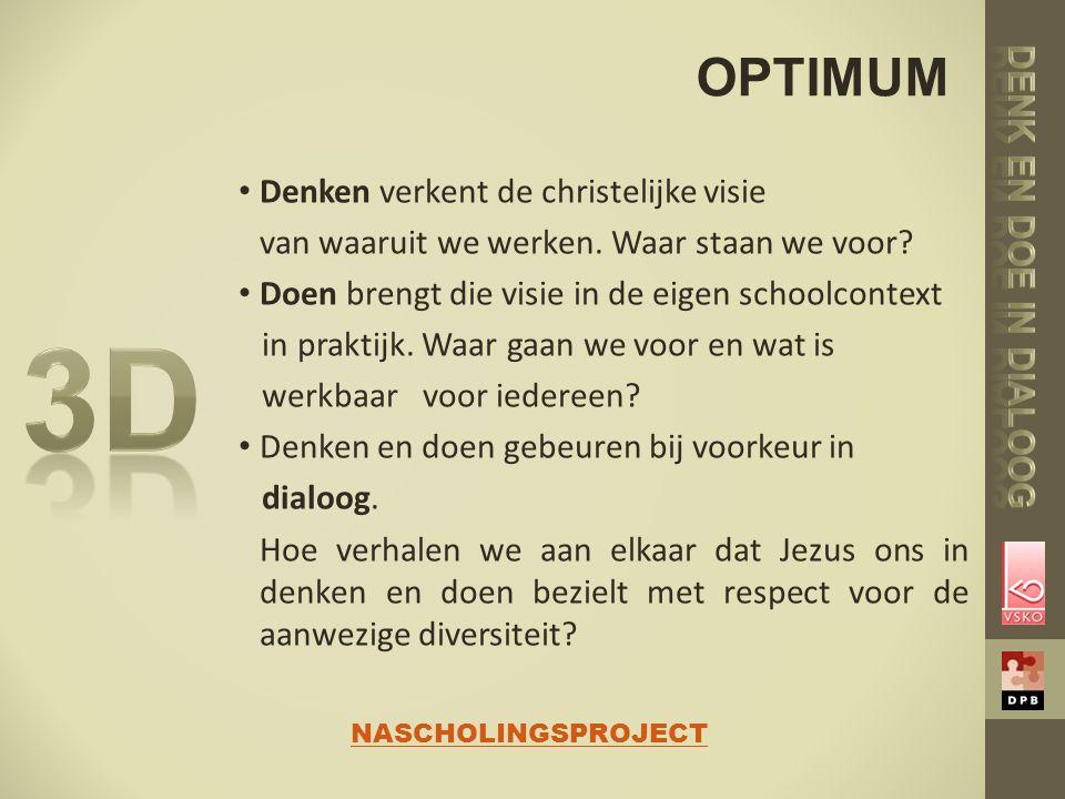 3D OPTIMUM Denk en doe in dialoog Denken verkent de christelijke visie