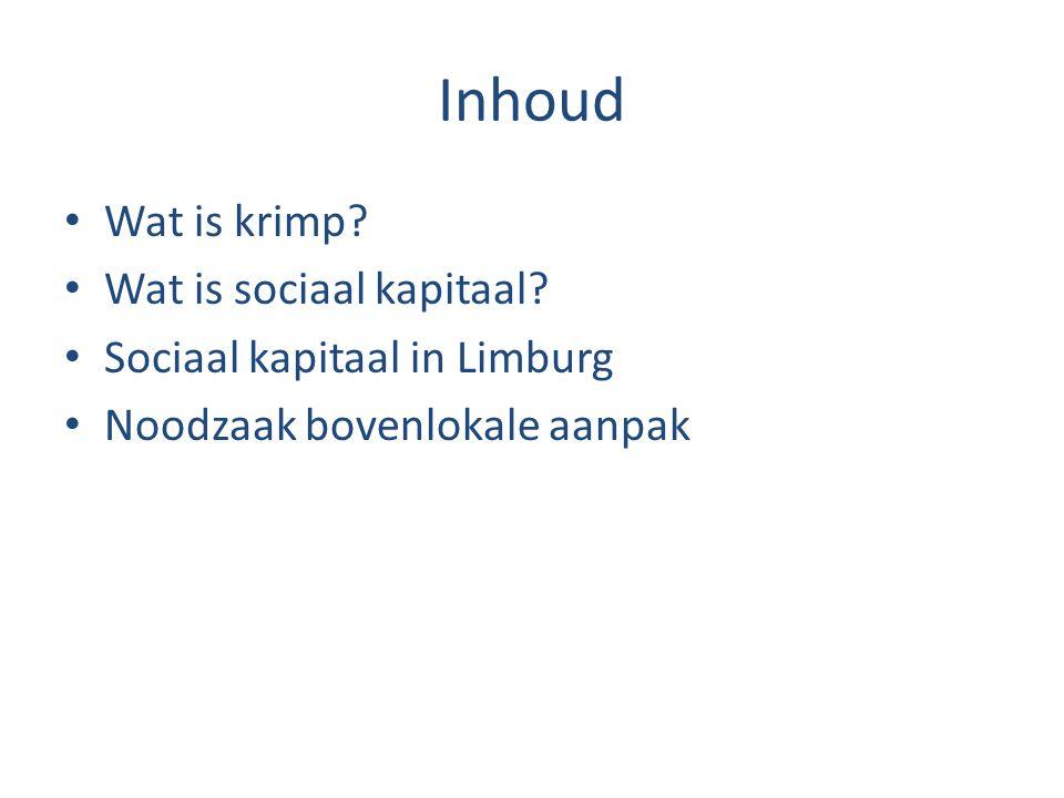 Inhoud Wat is krimp Wat is sociaal kapitaal