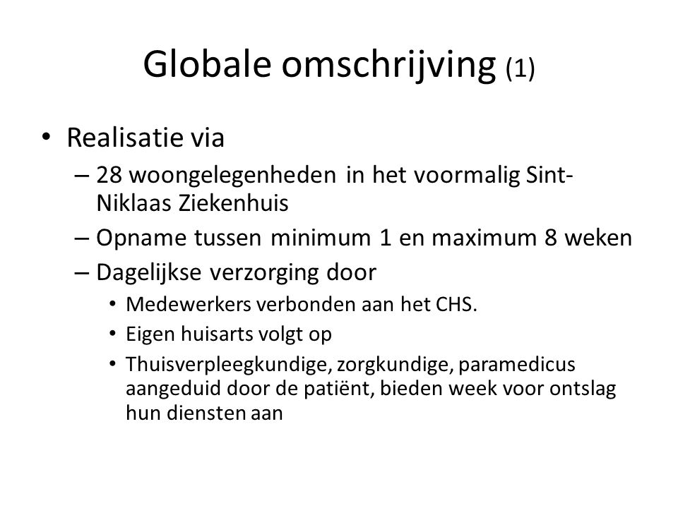 Globale omschrijving (1)
