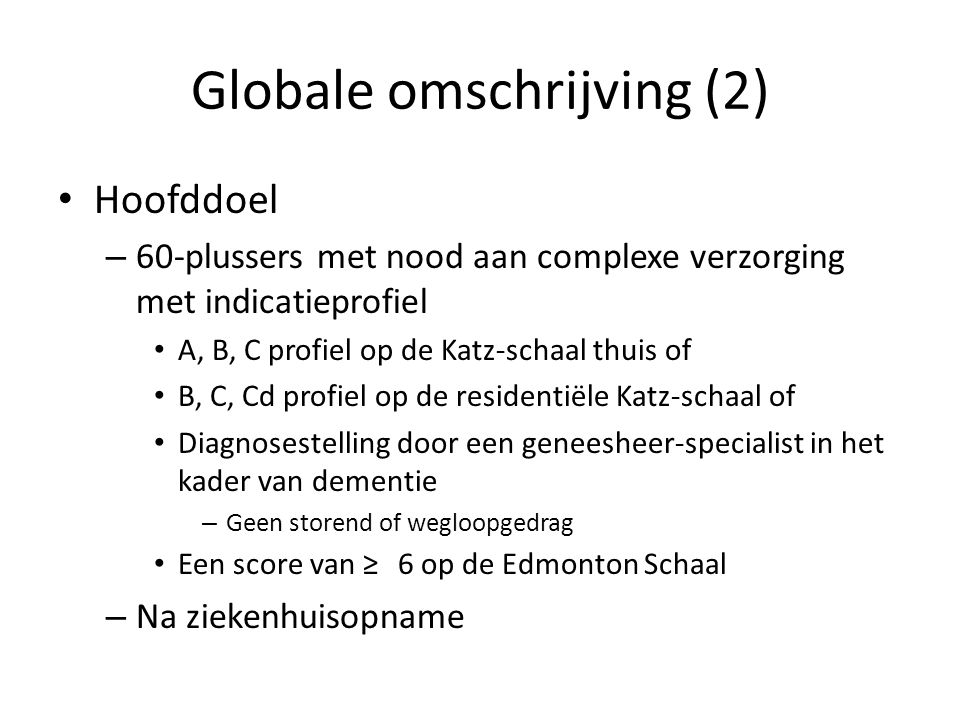 Globale omschrijving (2)