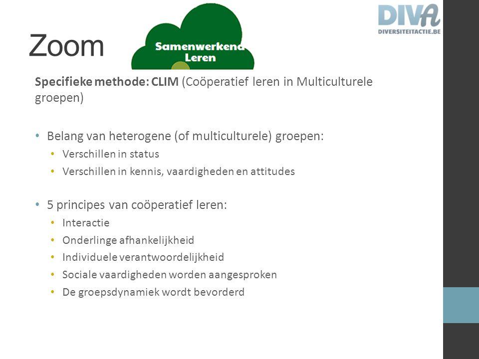 Zoom Specifieke methode: CLIM (Coöperatief leren in Multiculturele groepen) Belang van heterogene (of multiculturele) groepen: