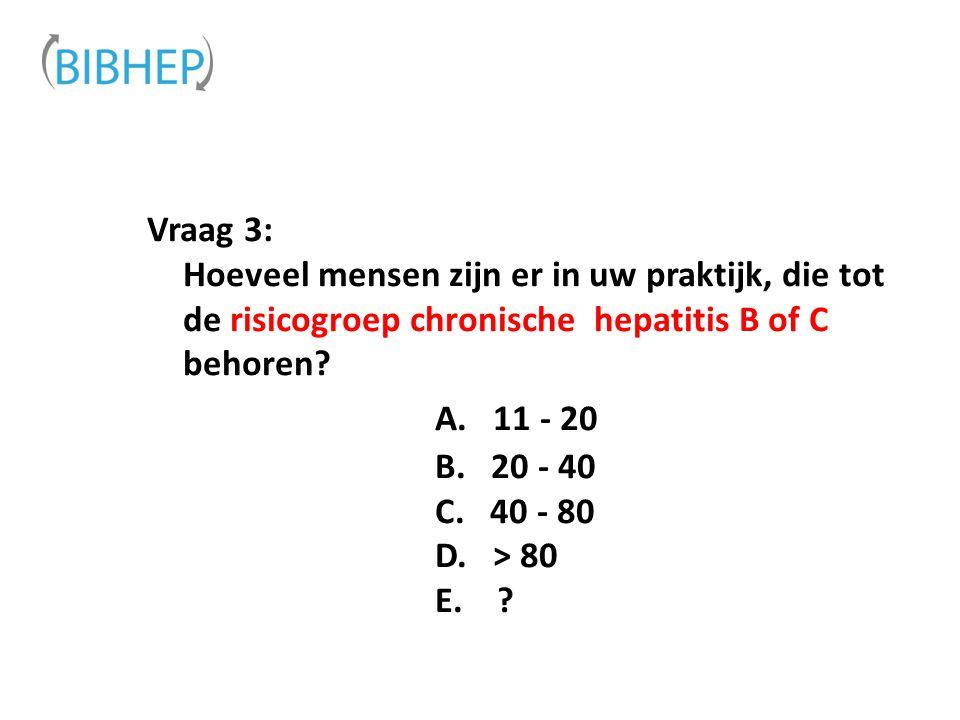 Vraag 3: Hoeveel mensen zijn er in uw praktijk, die tot de risicogroep chronische hepatitis B of C behoren A. 11 - 20 B. 20 - 40 C. 40 - 80 D. > 80 E.