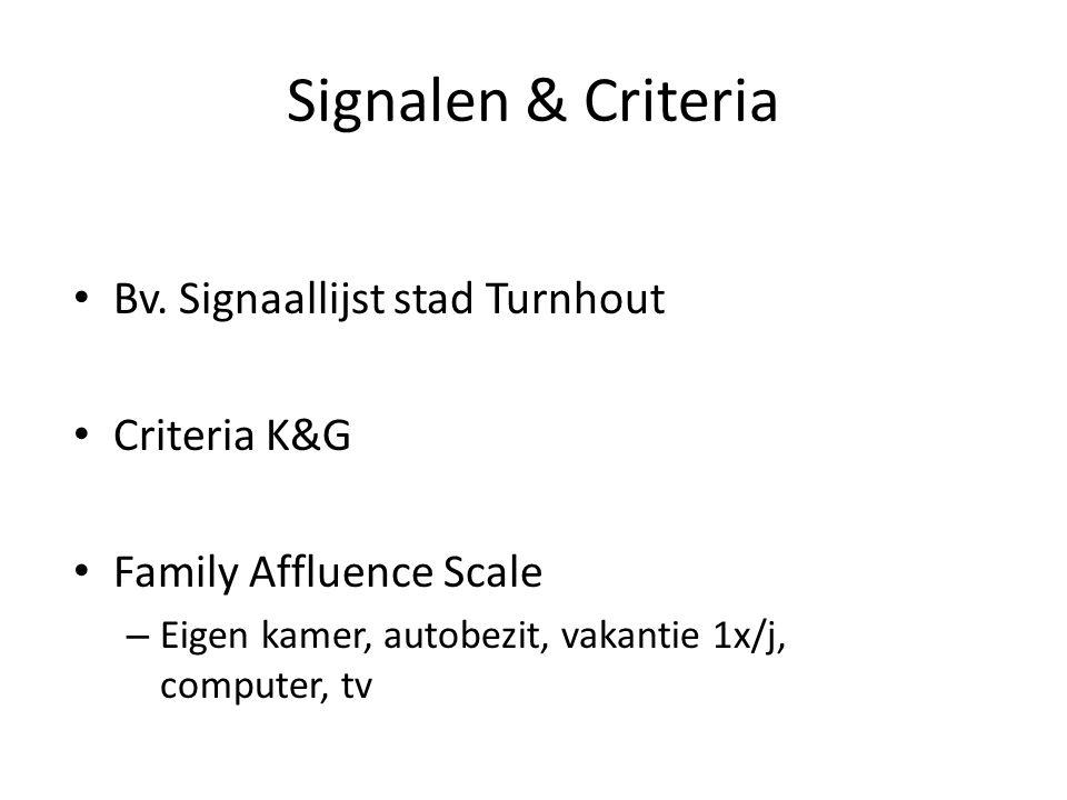 Signalen & Criteria Bv. Signaallijst stad Turnhout Criteria K&G