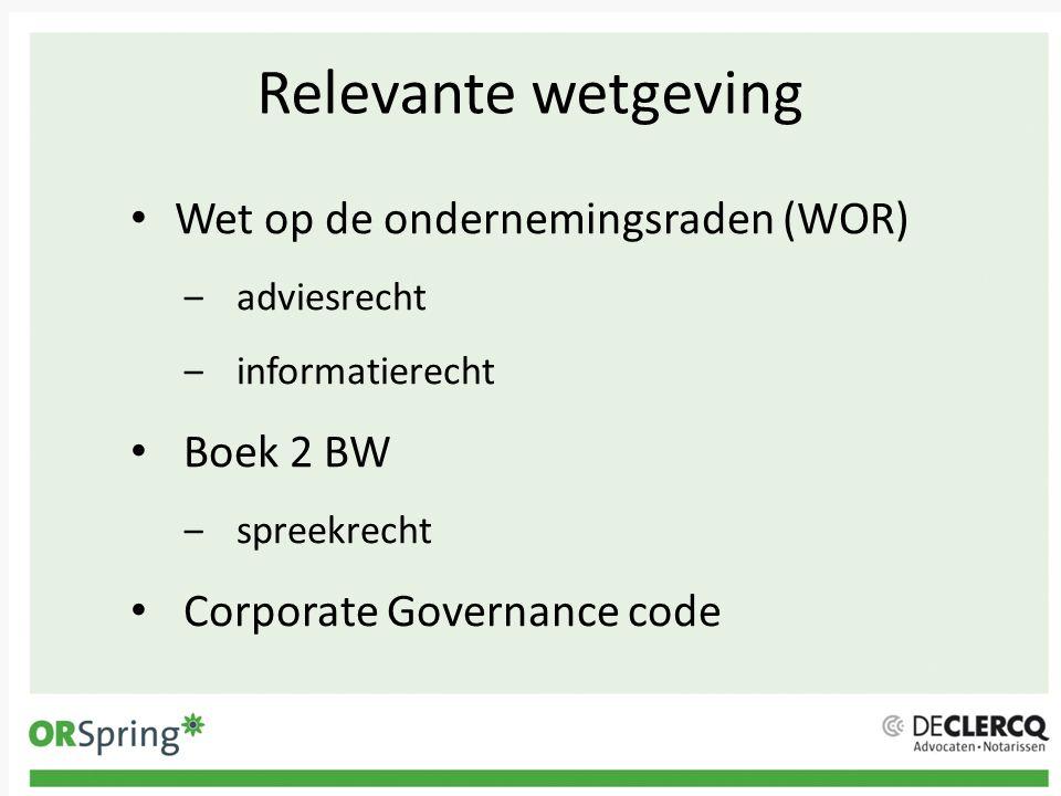 Relevante wetgeving Wet op de ondernemingsraden (WOR) Boek 2 BW