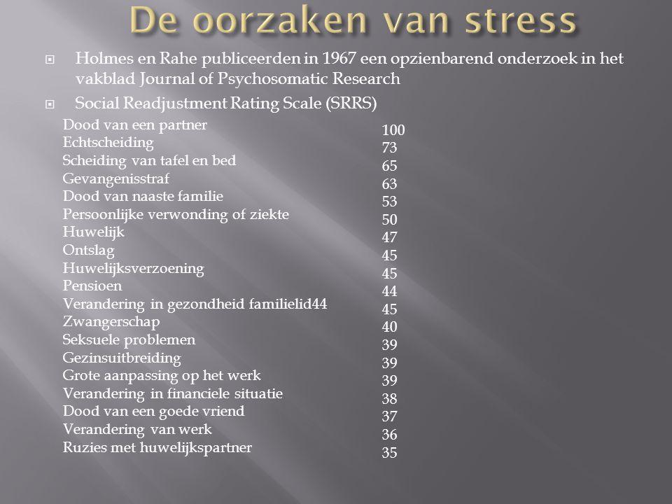 De oorzaken van stress Holmes en Rahe publiceerden in 1967 een opzienbarend onderzoek in het vakblad Journal of Psychosomatic Research.
