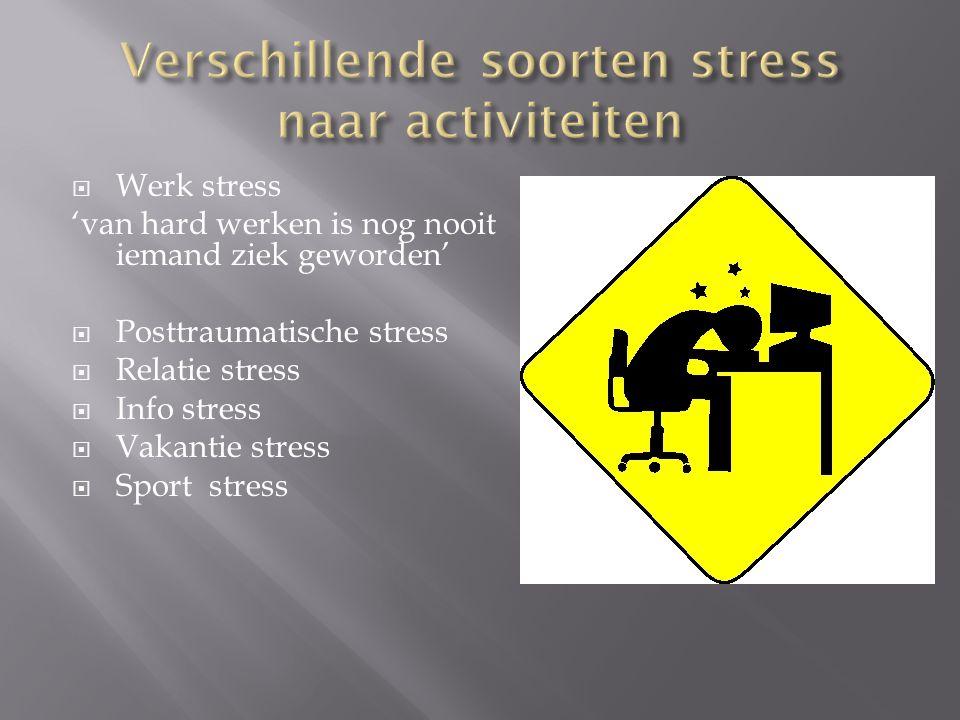 Verschillende soorten stress naar activiteiten