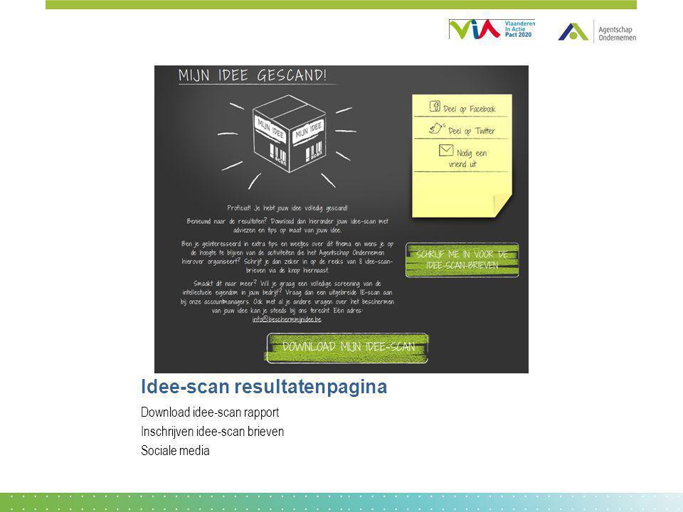 Idee-scan resultatenpagina
