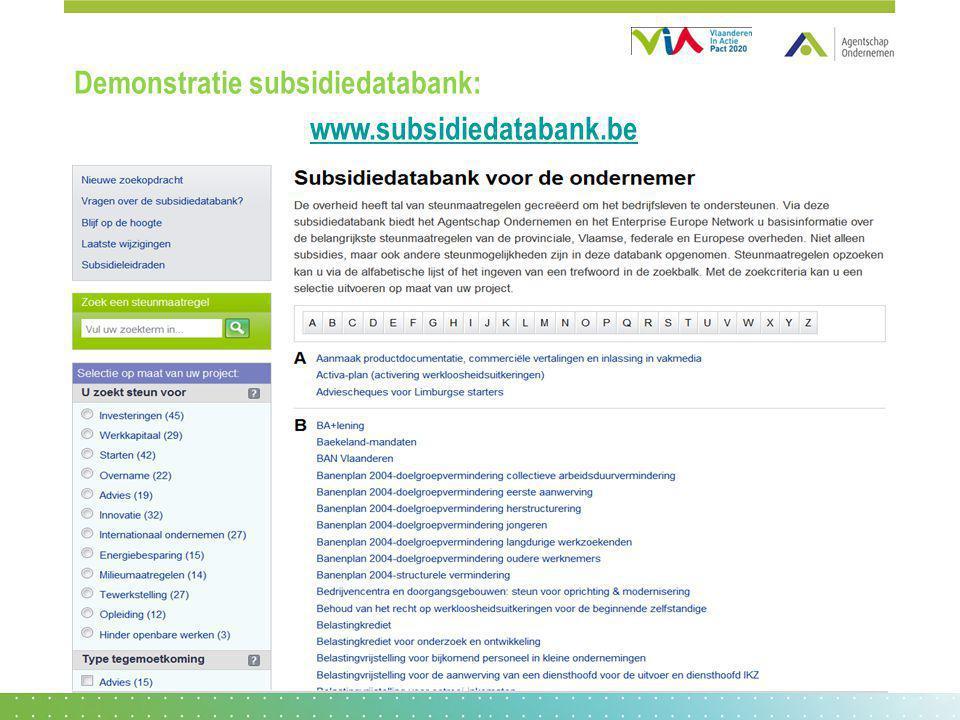 Demonstratie subsidiedatabank: