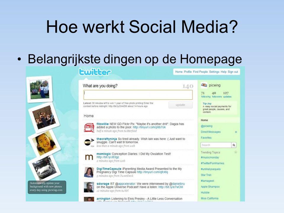Hoe werkt Social Media Belangrijkste dingen op de Homepage