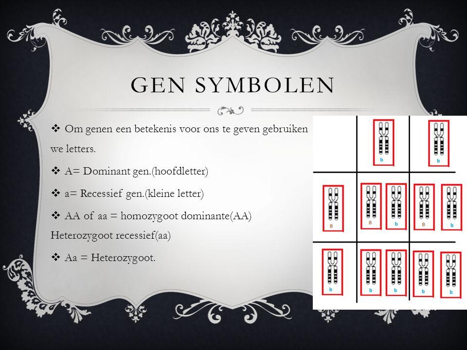 Gen symbolen Om genen een betekenis voor ons te geven gebruiken we letters. A= Dominant gen.(hoofdletter)