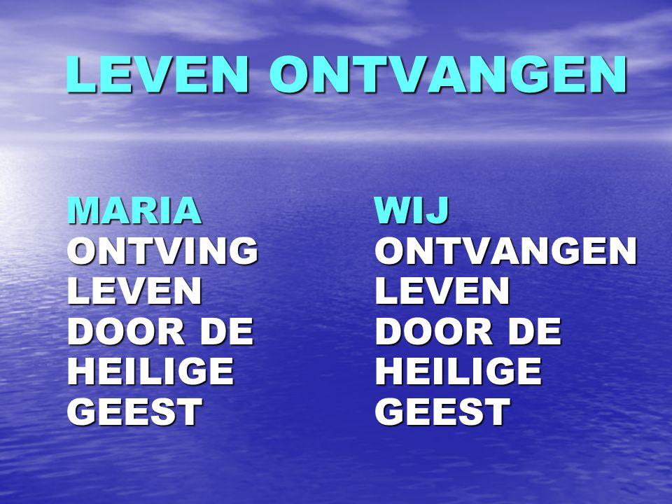 LEVEN ONTVANGEN MARIA ONTVING LEVEN DOOR DE HEILIGE GEEST