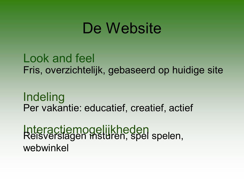 De Website Look and feel Indeling Interactiemogelijkheden