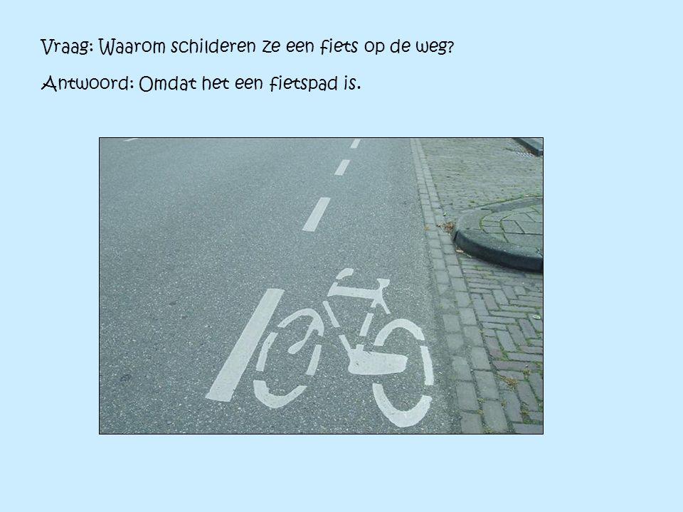 Vraag: Waarom schilderen ze een fiets op de weg