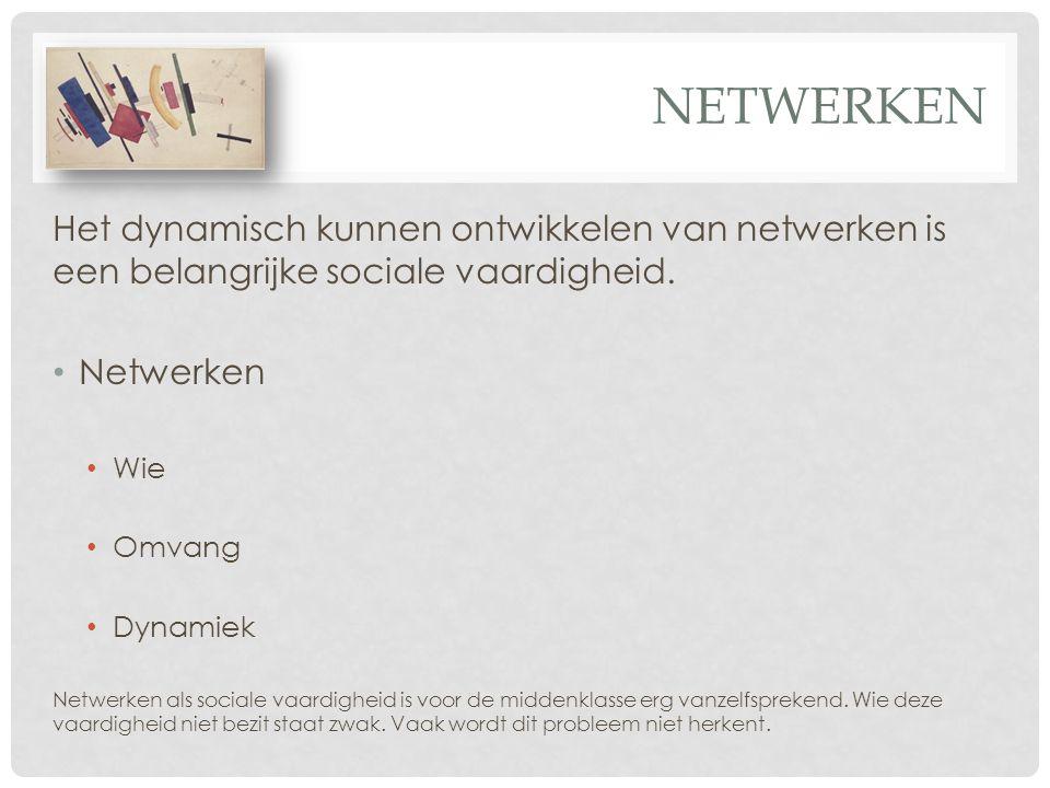 netwerken Het dynamisch kunnen ontwikkelen van netwerken is een belangrijke sociale vaardigheid. Netwerken.