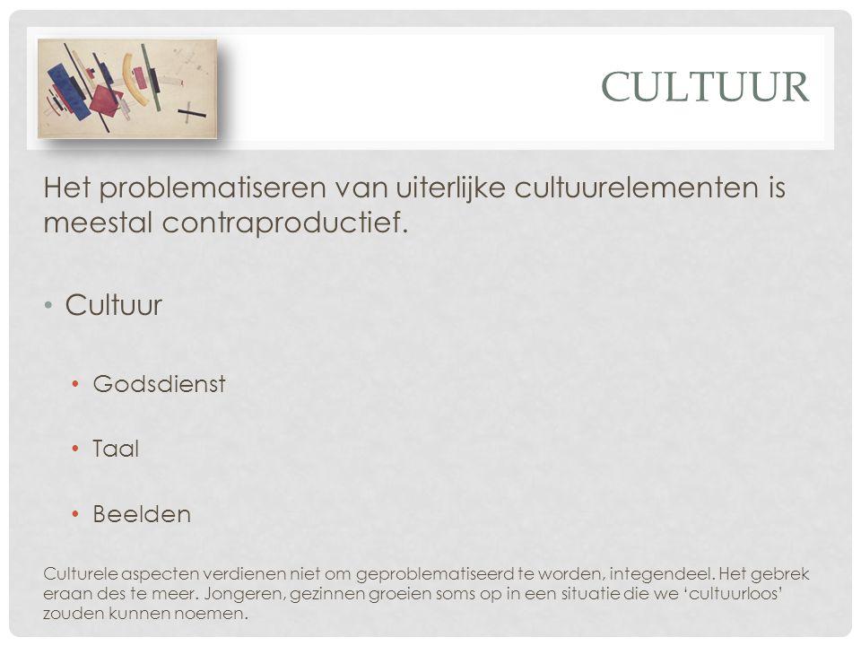 Cultuur Het problematiseren van uiterlijke cultuurelementen is meestal contraproductief. Cultuur. Godsdienst.
