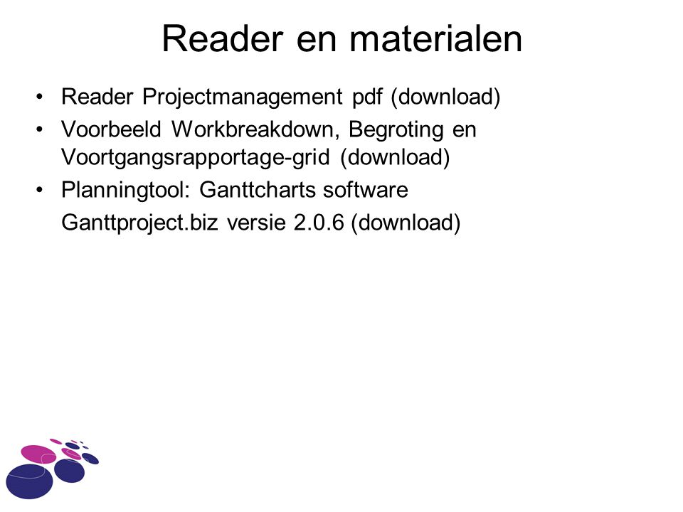 Reader en materialen Reader Projectmanagement pdf (download)
