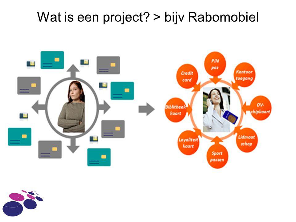 Wat is een project > bijv Rabomobiel