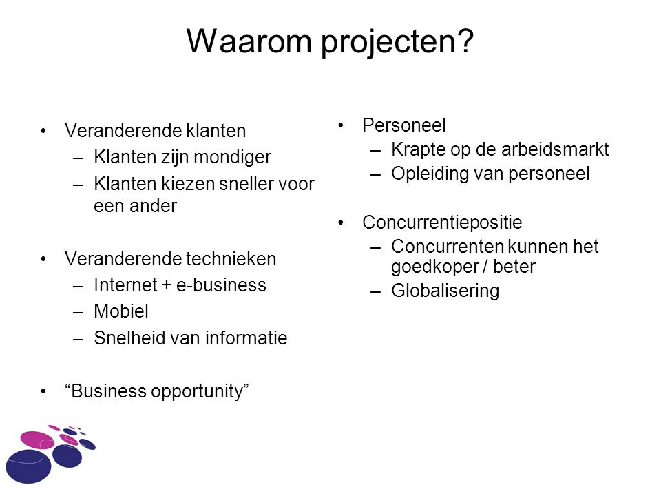 Waarom projecten Personeel Veranderende klanten