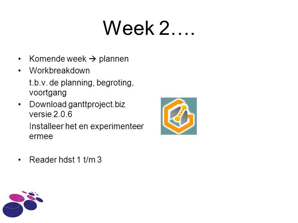 Week 2…. Komende week  plannen Workbreakdown